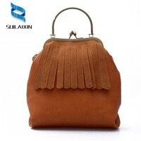 Women Designer Leather Shoulder Bag Vintage Top Handle Tassel Shell Clip Hand Bags Casual Bucket Clutches