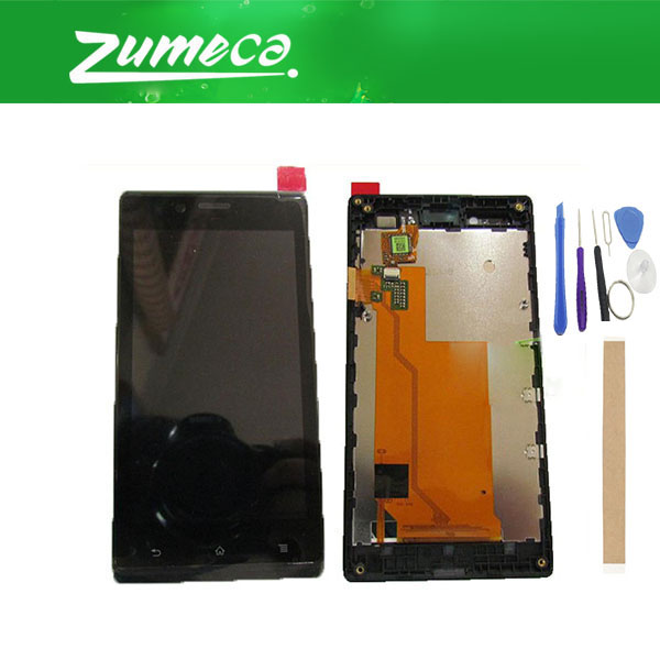 High Quality For Sony Xperia J ST26a ST26i ST26 LCD Display Screen+Touch Screen Digitizer With Frame Black Color With Kit