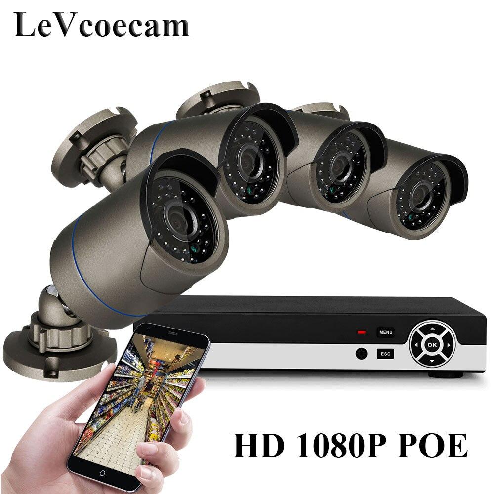 Наблюдения Системы 4CH 720 P/1080 P CCTV Камера Системы H.265 NVR Наборы IP Камера P2P Открытый комплект видеонаблюдения