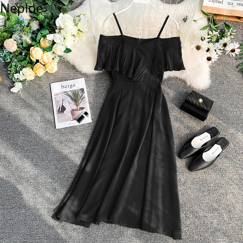 Neploe Sweet Spaghetti Strap Women Dress 2019 Solid Slash Neck Short Sleeve Vestido England Style Chiffon A-Line Robe 43088 4