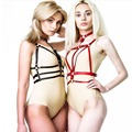 HARNESS, leather strap body harness with detachable removable collar around neck adjustable buckles double waist belts