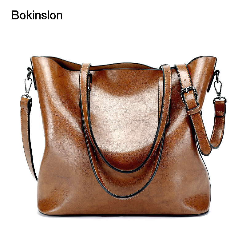 Bokinslon Woman Handbags Bags Solid Color PU Leather Ladies Crossbody Bag Popular Fashion Female Shoulder Bags