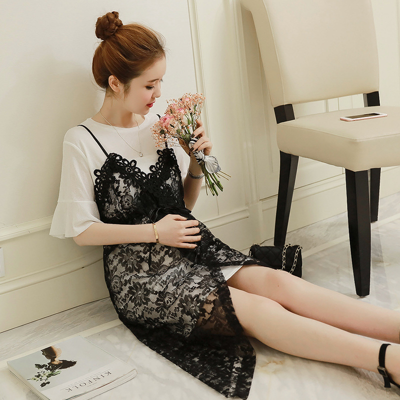 Maternity dresses clothing Summer new pregnant women dress two sets of straps lace fashion plush size women pregnancy clothes