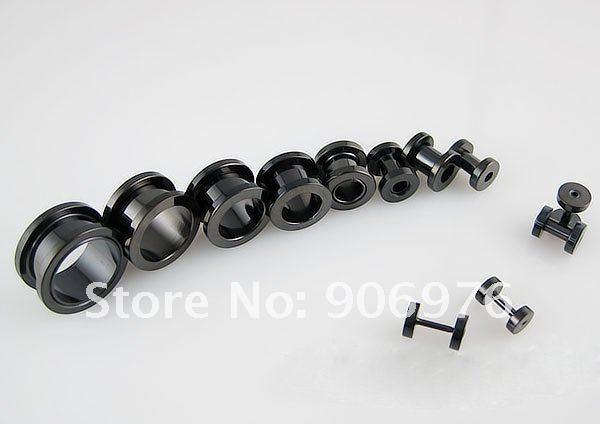 Черный Сталь двойной Flared Ушко 316L уха Jewellery Украшения для тела 26 шт./лот