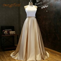 Elegant Two Piece Prom Dress 2018 vestido longo Halter Satin White & Champagne Long Prom Party Gowns