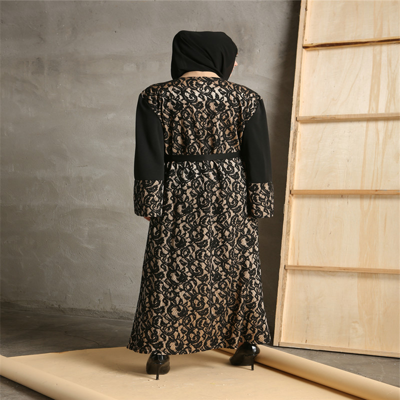 Mode Musulman Abaya Robes Ouverts Cardigan Patchwork Robe Maxi Robe - Vêtements nationaux - Photo 5