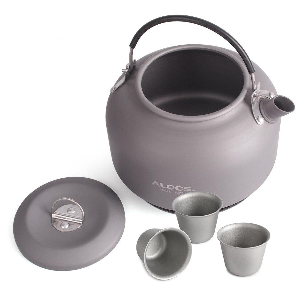 Image 3 - 1.4L Открытый походный титановый чайник, чайник для воды, открытый кофейник, портативная кухонная посуда с сетчатой сумкой и 3 титановыми чашками-in Столовые приборы для пикника from Спорт и развлечения on AliExpress - 11.11_Double 11_Singles' Day