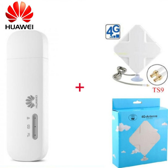 Unlocked Huawei E8372 E8372h 153 4G usb modem with 4G Signal Amplifier Antenna 2M cable double