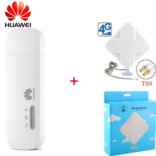 US $49 99 |Unlocked Huawei E8372 E8372h 153 4G usb modem with 4G Signal  Amplifier Antenna 2M cable double connector WiFi dongle car wifi-in Modems