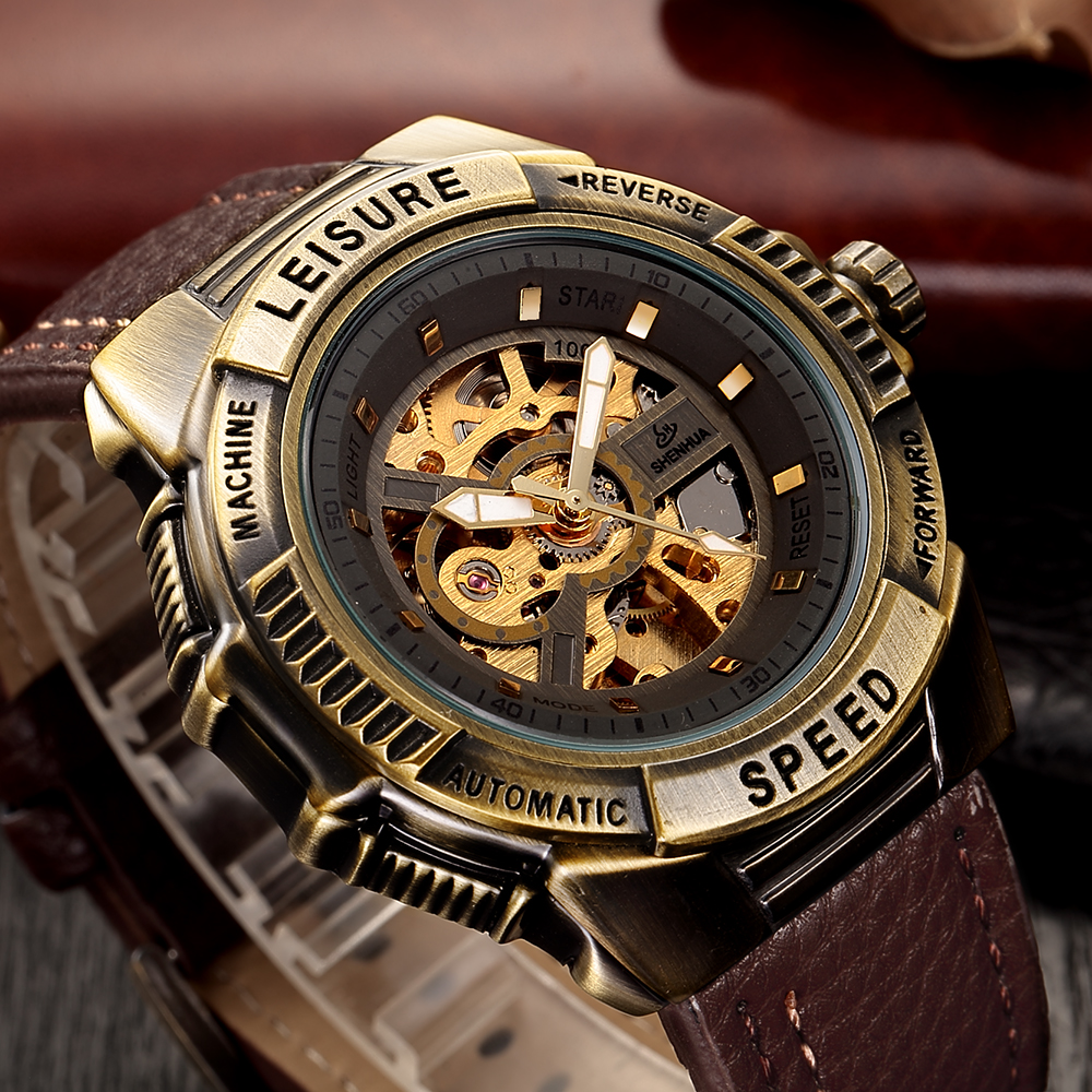 Relojes Hombre Steampunk Automatic Watch Men Shenhua Antique Bronze Skeleton Mechanical Retro PU Leather Wrist Watches Colck ManRelojes Hombre Steampunk Automatic Watch Men Shenhua Antique Bronze Skeleton Mechanical Retro PU Leather Wrist Watches Colck Man
