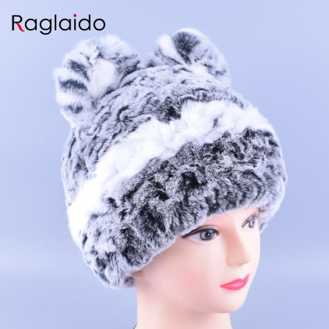 11colors Cat Hat Winter Women Genuine Real Fur Rex Rabbit Hats Hand Knitted Female Beanie Hats Ladies Ear Caps Headwear LQ11148