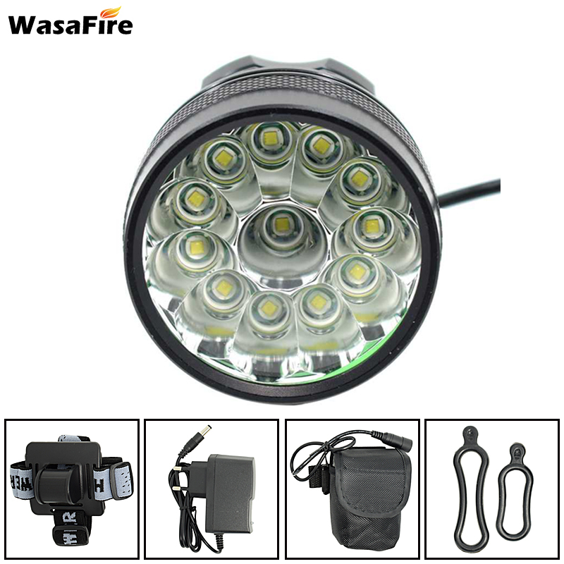 WasaFire 20000lm 12* XM-L T6 LED Bicycle Light Cycling Bike Light Headlight 3 Modes Lamp Front light lamps +Charger+Battery Pack solarstorm x3 bicycle light 8000 lumens 4 mode xm l t6 led cycling front light bike light lamp torch battery pack charger
