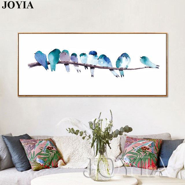 Watercolor Birds Canvas Wall Art Prints Abstract Bird Wall Pictures Modern Spary Paintings Living Room Home Interior Decor