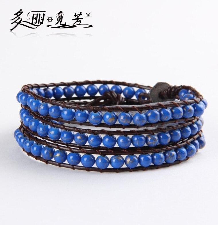 2017 newest 6mm stone imitation lapis glass imitation pearls 4X wrap bracelet for unisex bracelet bangle