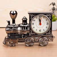 Vintage Retro Train Style Students Alarm Clock Table Desk Time Clock Cool Train Model Home Office