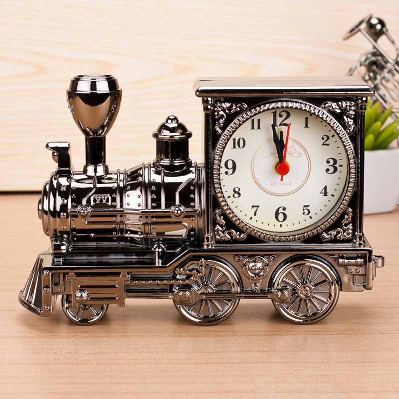 Vintage Train Style Alarm Clock Table Desk Time Clock Cool Train Model Students Clocks Home Office Shelf Decoration