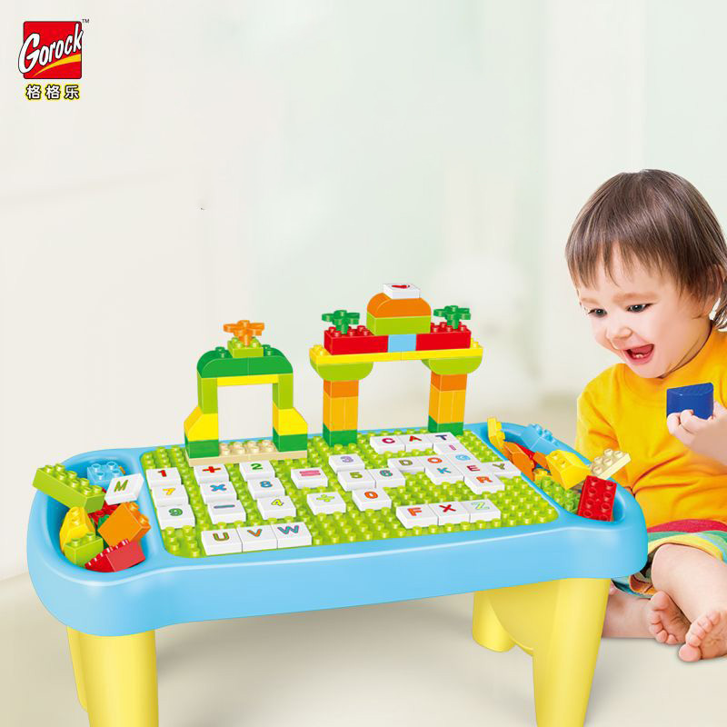 GOROCK Big Building Blocks SET Multi-functional learning table Desk Educational Toys figures for kids baby High compatibility
