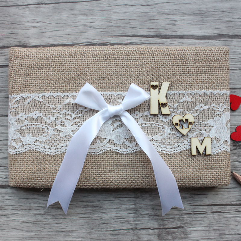 Personalized Wedding Guest Book,Rustic Burlap Wedding Guest Book,Custom Love Initials Engagement Sign Guestbook Wedding Decor