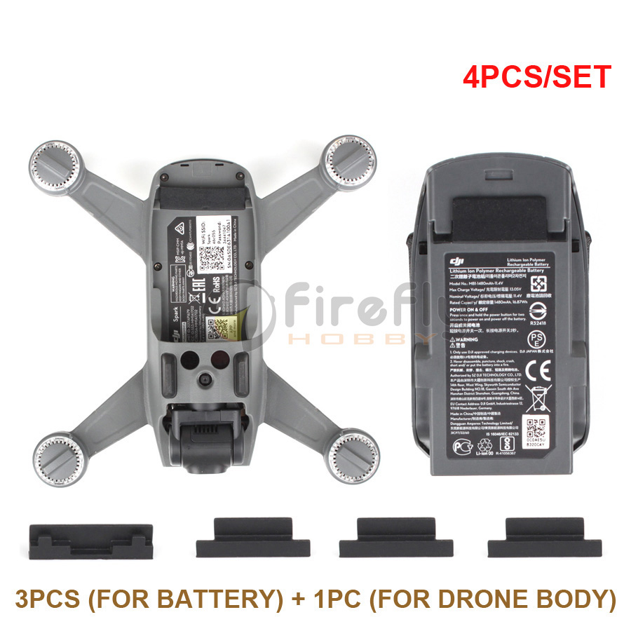 4pcs/set Battery Charging Port Protector Silicone Cover Dust-proof Plug for DJI SPARK