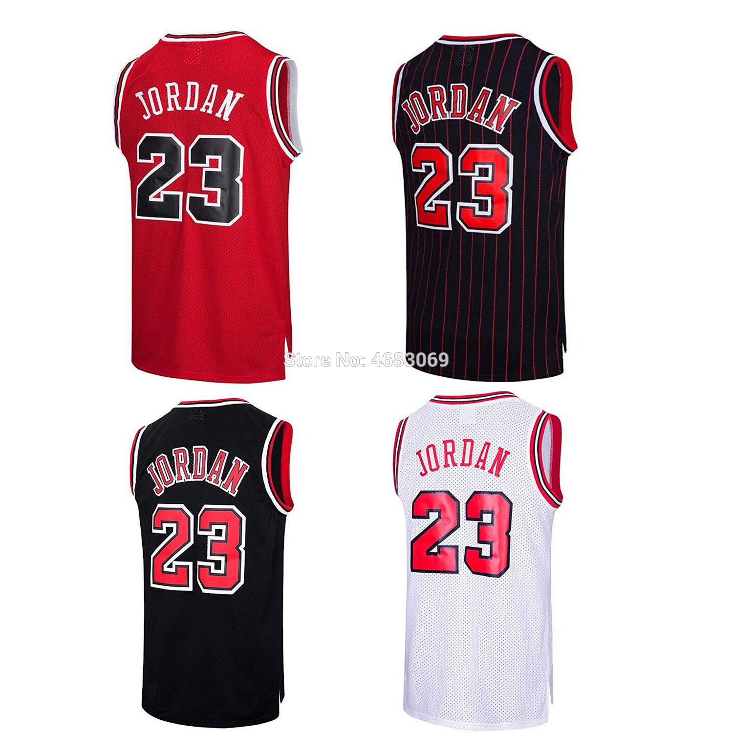 AIFFEE Sports Tank Tops Shirts #23 Throwback Swingman Jordan Classics Jersey Red Black White Stripe Stitched US STOCK(China)