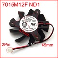 O Envio gratuito de New T & T 7015M12F ND1 65mm 47*47*47mm 12 V 0.25A 2 fio 2Pin Gráficos/Placa De Vídeo VGA Cooler Fan