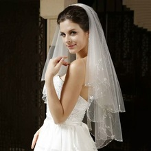 Vintage Wedding Veil with Crystal Edge Women Two Layers Bridal With Combe Tulle Accessories 2019 New Arrival
