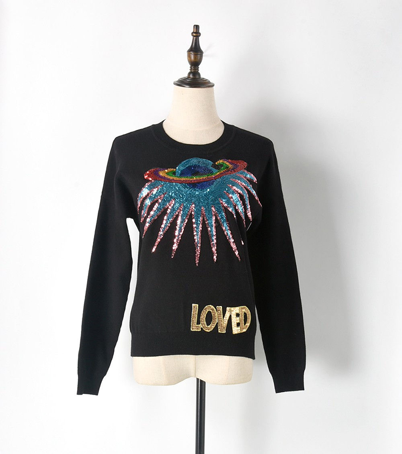 Luxury Brand Quality Runway Sweater Women UFO Letter Pull Femme LOVED Planet Sequined Sweater 2019 Christmas Pullovers Sweaters