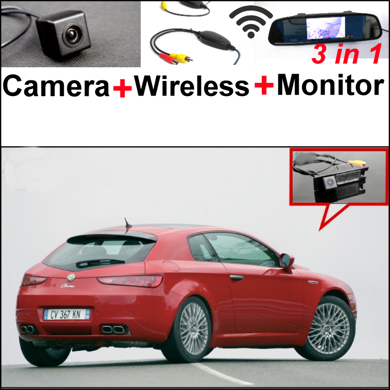 For Alfa Romeo Brera  Spider Wireless Receiver + Mirror Monitor EASY DIY Parking System + 3 in1 Special WiFi Rear View Camera wireless pager system 433 92mhz wireless restaurant table buzzer with monitor and watch receiver 3 display 42 call button