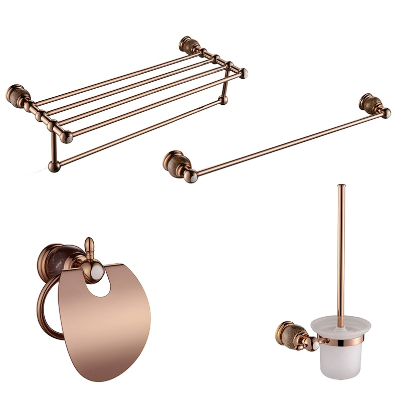 luxury pvd gold rose gold color brass marble bathroom accessory sets towel bar ring toilet brush paper holder kit hardware