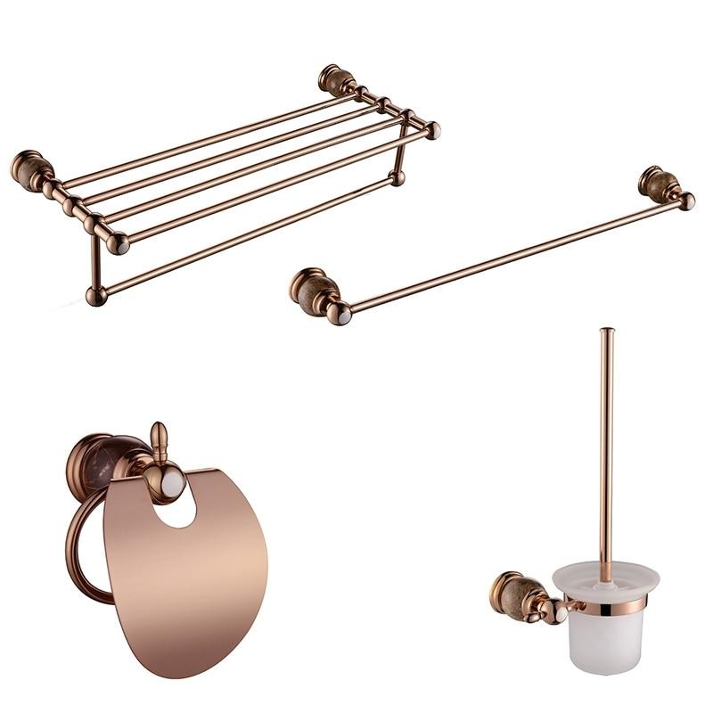 Luxury PVD Gold Rose Gold Color Brass U0026 Marble Bathroom Accessory Sets  Towel Bar Ring Toilet Brush Paper Holder Kit Hardware