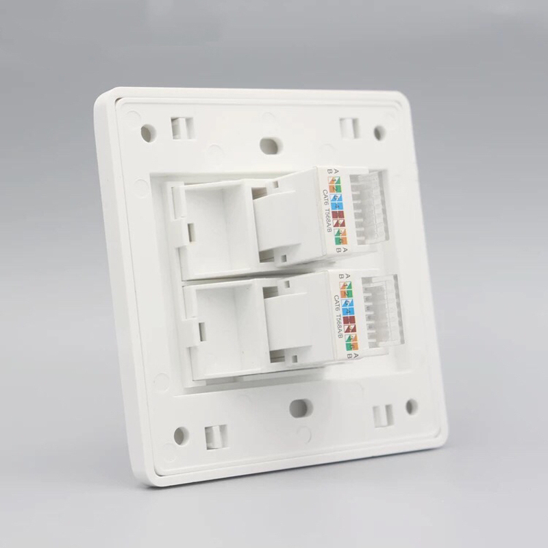 2Pcs Wall Socket Panel Rj45 Jack Modular 2 Port Cat6 Pc Keystone Wall Face Plate Faceplate Toolless 86mm Computer in Extension Socket from Consumer Electronics