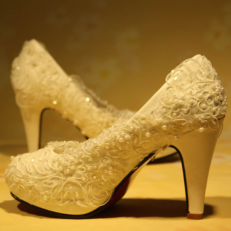Closed Toe Ivory Color Woman Wedding Pumps Shoe Lace Bridal Party Shoes Milk White Beading Crystals XNA 164 In Womens From On