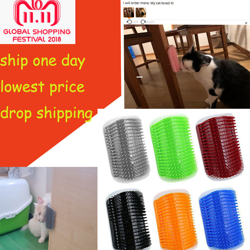Pet Products For Cats Brush Corner Cat Massage Self Groomer Comb Brush With Catnip Ship From Us