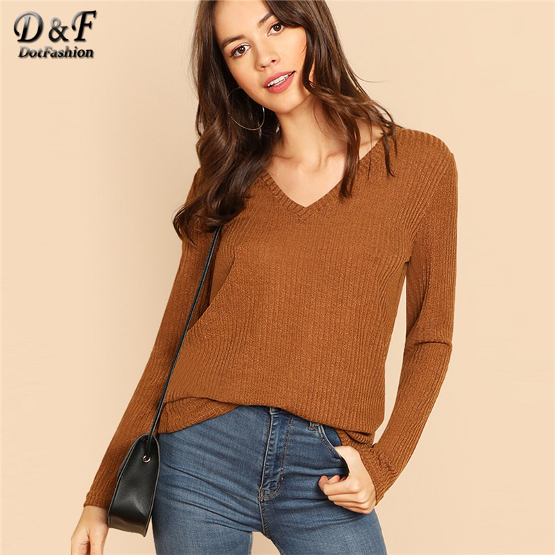 83a0a7ac US $9.99 40% OFF|Dotfashion Brown V Neck Solid Long Sleeve Tee Shirt Women  2019 Autumn Casual Rib Knit Pullovers Tops Womens Clothing T Shirt-in ...