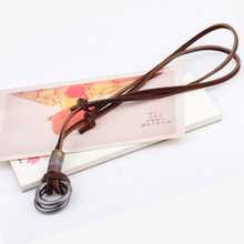 Cowhide Leather Rope Ornaments Pendant Necklace