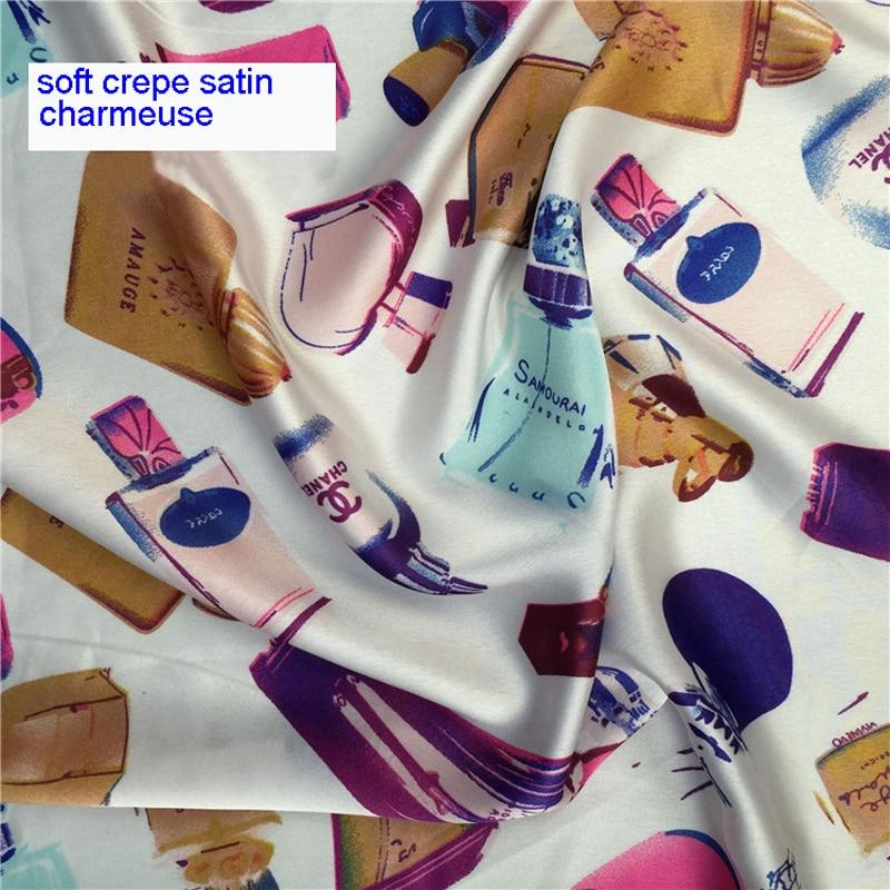 Meter Perfume Bottles Stretch Satin Charmeuse Print Material Soft Dress Fabrics Imitate Silk Cloth