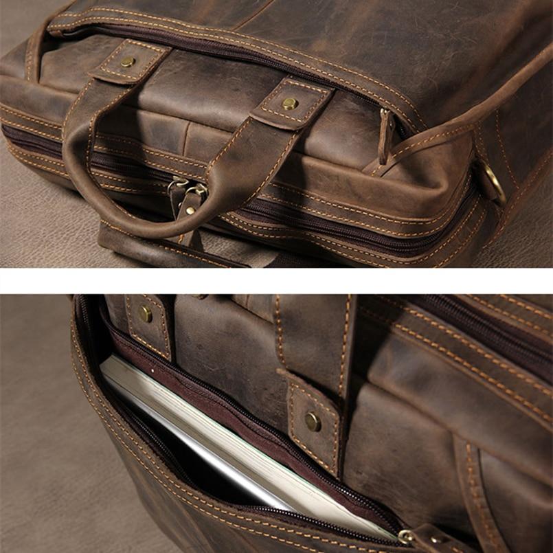 """2018 Brand Genuine Leather Men Briefcases Designer Handmade Cowhide Leather Briefcase 14"""" Laptop Vintage Crossbody Shoulder Bag"""