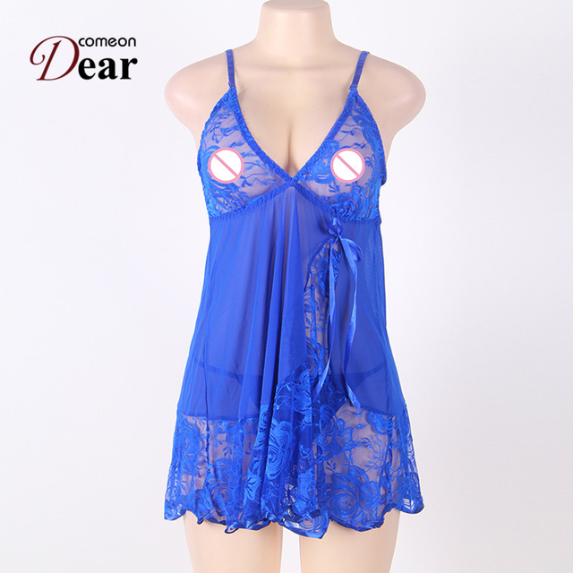 Sexy Women Fancy Underwear with G-string Fitness Lace Babydoll Dress Plus Size Sexy Lingerie