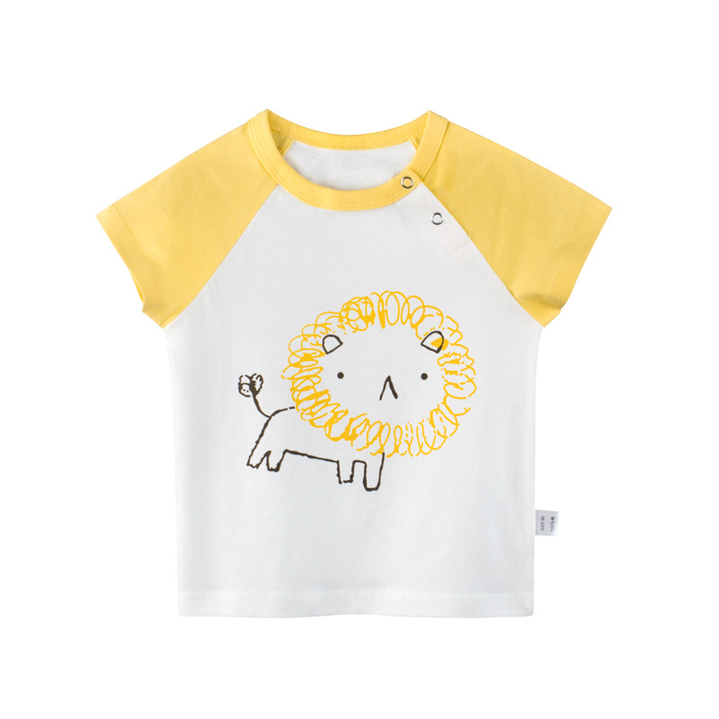 New summer kids T-shirt boys and girls double-breasted cotton cartoon fashion children