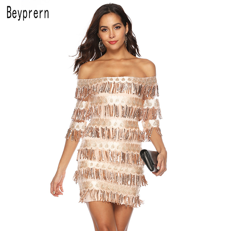Beyprern Sparkle Off The Shoulder Tassel Sequins Cocktail Party Dress Plus  Size Elegant Sequins Bodycon Chirstamas 48f21369b901