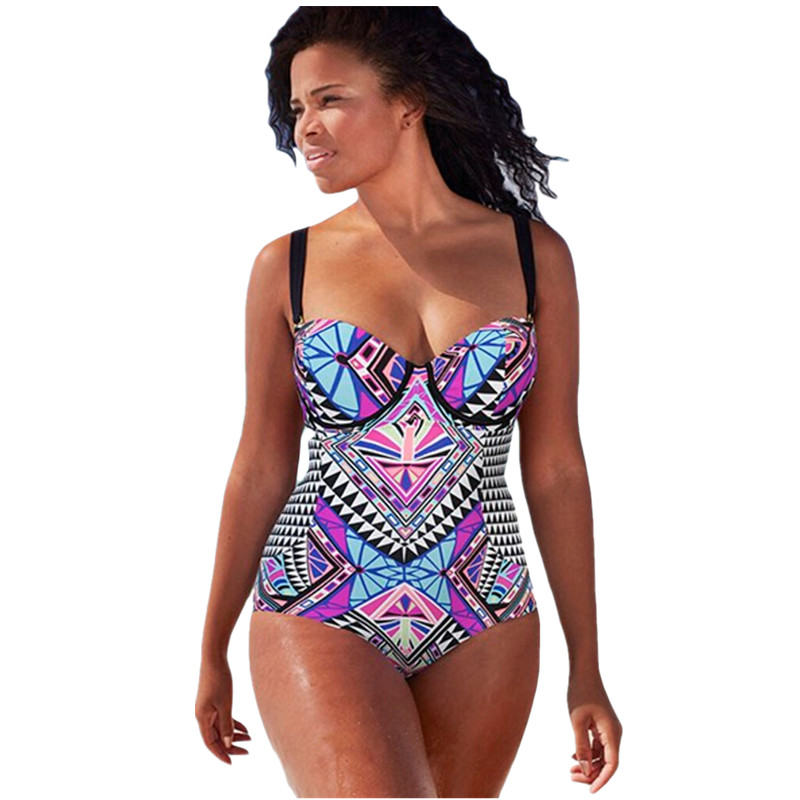cfanny 2016 plus size swimwear women purplish tribal print bathing ...