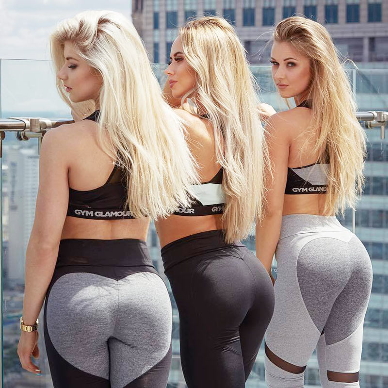 Women Mesh Patchwork Spliced Breathable Back Heart Shape   Leggings   Casual Fitness High Waist Pencil Pants Bodybuilding Slim Trous