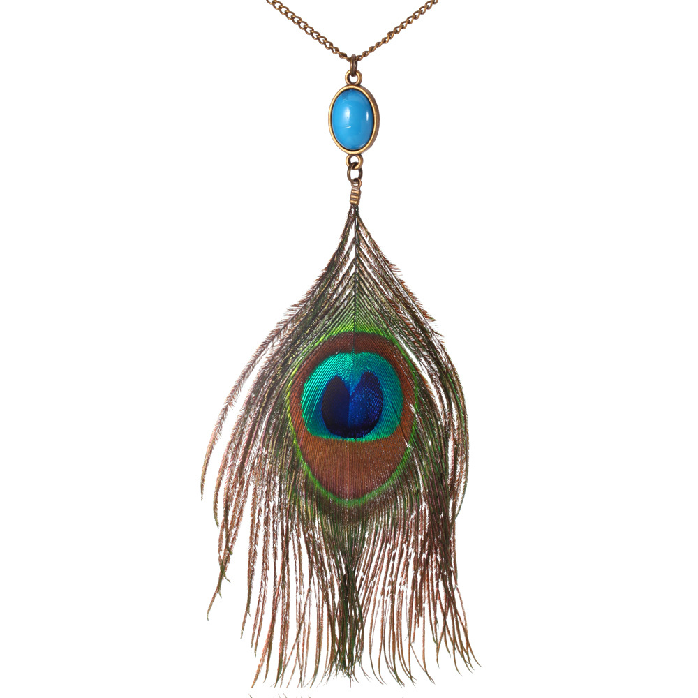 HC Bohemian Charm Peacock Feather Pendant Necklace Fashion Women Ethnic Jewelry Vintage Stone Gem Long Chain Sweater Necklace F