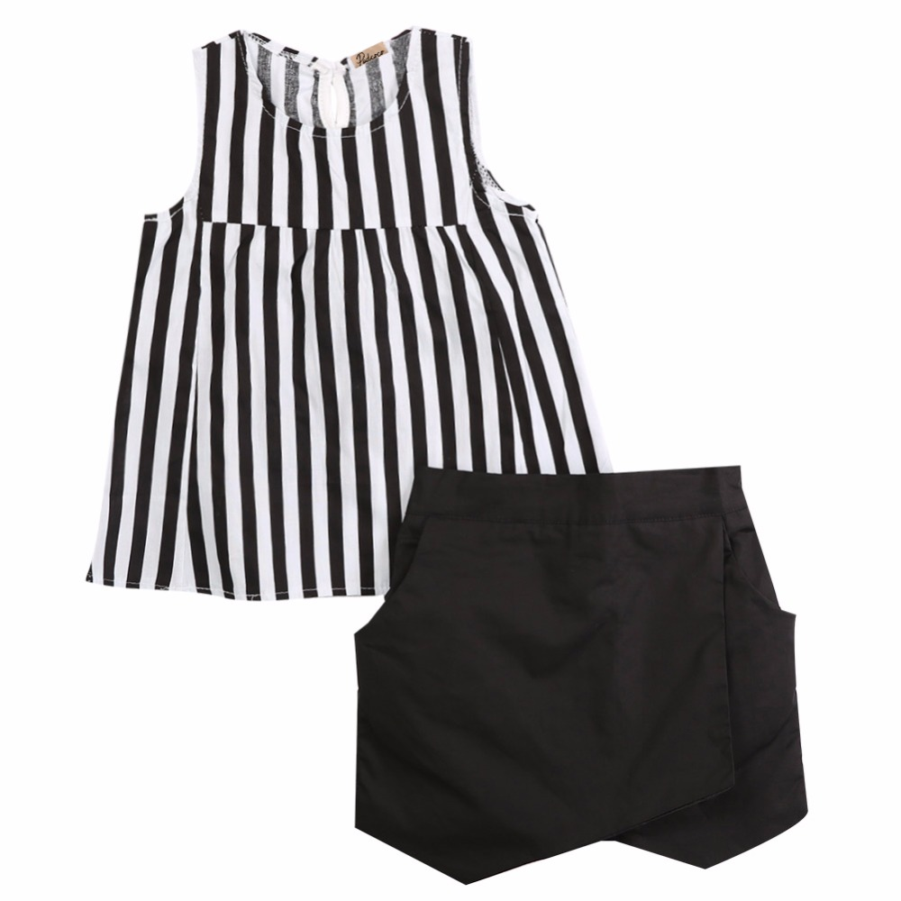 2015 Kids Baby Girls Vertical Stripe Sleeveless Tops Blouse Black + Short Pants 2pcs Outfits Summer Clothes  2~7Y