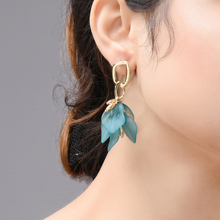 Wuli & baby Green Acrylic Leaves Flower Drop Earrings Women Holiday Fashion Jewelry