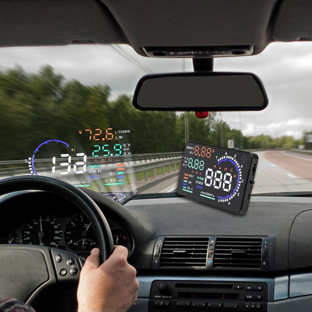 imágenes para A8 5.5 Pulgadas Odb2 Obd Car Hud Head Up Display Ventanas Pantalla Proyector Sistema de Alerta De Velocidad Consumo de Datos de Diagnóstico