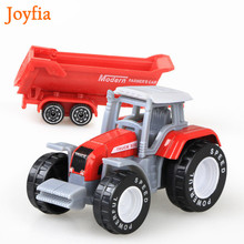 4 Types Boys Farm Truck Toy Vehicles Engineering Truck Car Models Tractor Trailer Toys Model Car Toy Collectible Car For Kids#