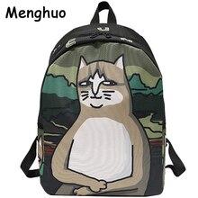Menghuo charmant chat impression sac à dos femmes toile sac à dos sacs décole pour adolescents dames décontracté mignon sac à dos sacs à dos