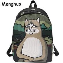 Menghuo יפה חתול הדפסת תרמיל נשים תיקי בית ספר בני נוער גבירותיי מזדמן חמוד תרמיל Bookbags