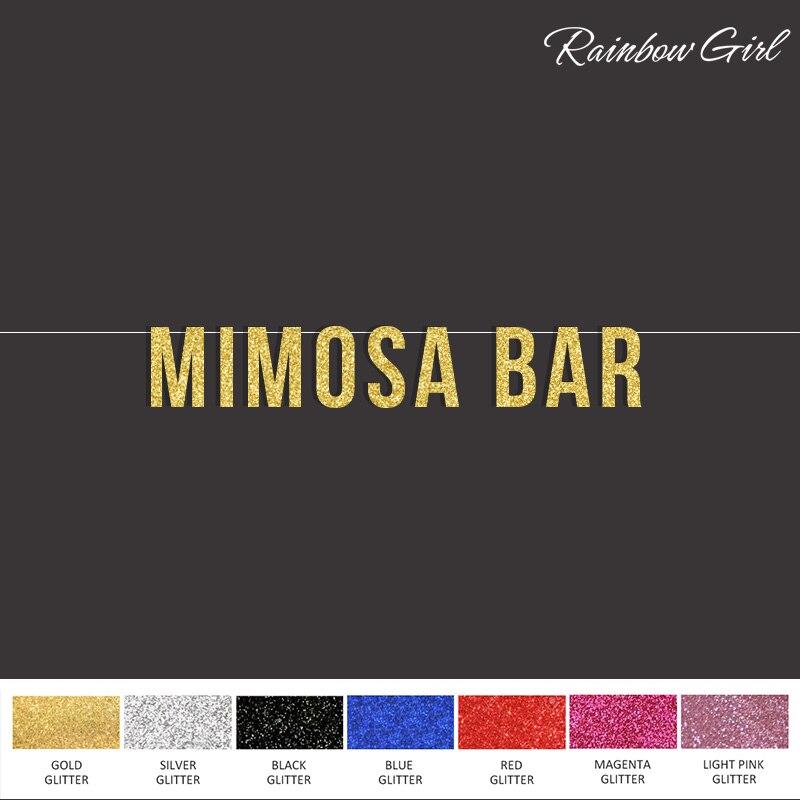 Mimosa/бар блеск вечерние баннер, свадебный душ/невесту/попкорн бисерные бар письмо, вечерние Аксессуары реквизит для фотосессии поставки